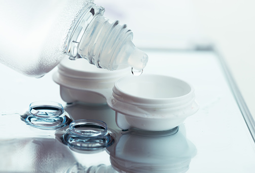 Do you know how contact lenses be stored if the solution runs out